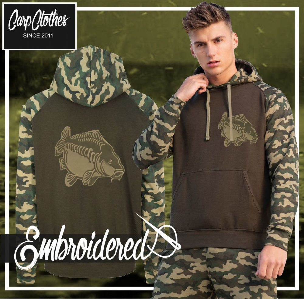 009 EMBROIDERED CONTRAST CAMO CARP HOODIE